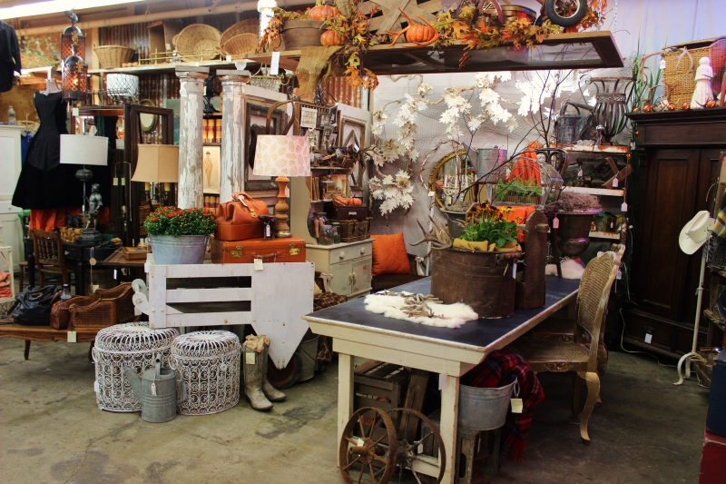 Vintage Furniture, Portland, Oregon, Table And Fall Foliage Photo - Monticello Antique Marketplace