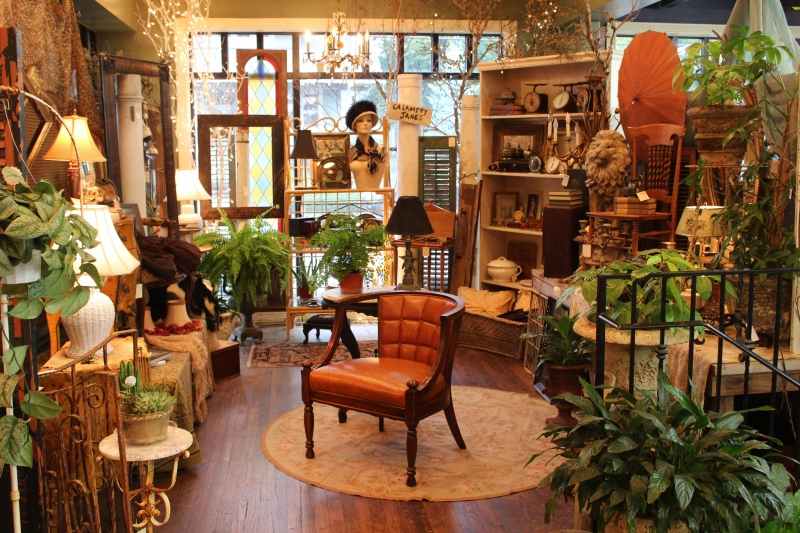 Antique Dealers, Portland, Oregon, Collection Of Items With Orange Chair Picture - Monticello Antique Marketplace
